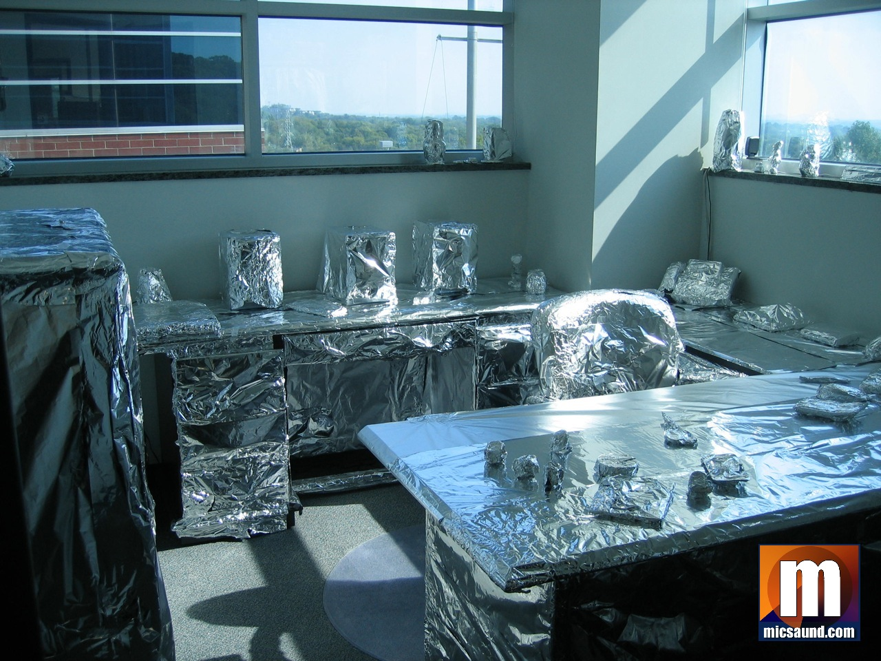Office prank covered everything in foil