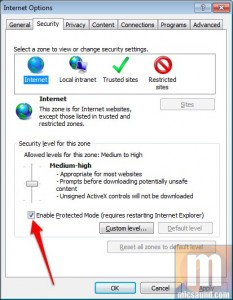 Enabling Protected Mode in IE